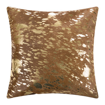 Metallic Acid Cowhide Pillow - 45x45cm - Natural/Gold