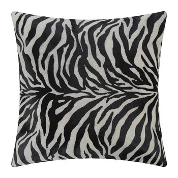 Zebra Print Cowhide Cushion - 45x45cm - Black/White