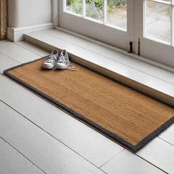 Double Coir Doormat with Charcoal Border