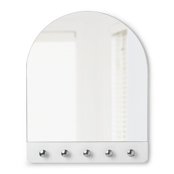 Peek Mirror with Hooks - White/Nickel