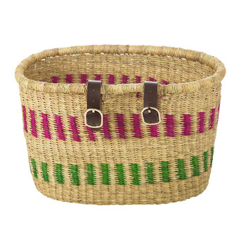 Nisobila Hand Woven Bicycle Basket - Pink/Green