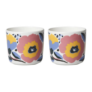 Ovia/Rosarium Coffee Cup - White/Red/Yellow/Blue - Set of 2