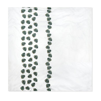 Embroidered Jungle Leaf Duvet Cover - Green/Gold