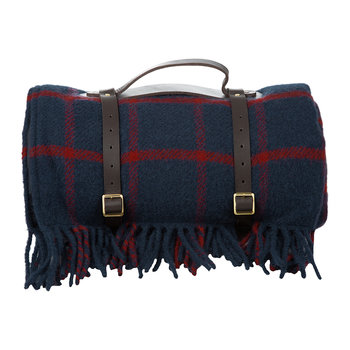 Pure New Wool Polo Picnic Rug - Chequered Navy/Red