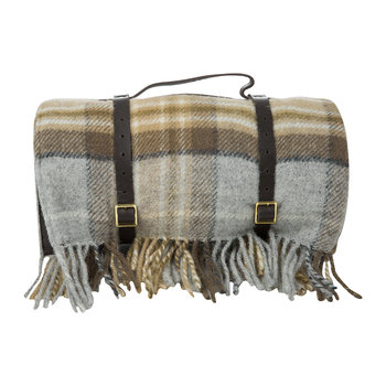 Pure New Wool Polo Picnic Rug - Mckellar/Brown Tartan