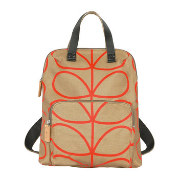Laminated Giant Linear Stem Backpack Tote - Stone