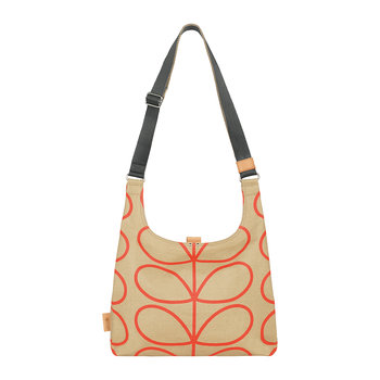 Laminated Giant Linear Stem Midi Sling Bag - Stone