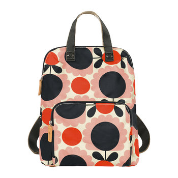 Laminated Scallop Flower Spot Backpack Tote - Blush