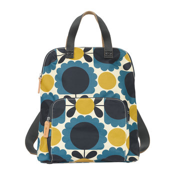 Laminated Scallop Flower Spot Backpack Tote - Denim