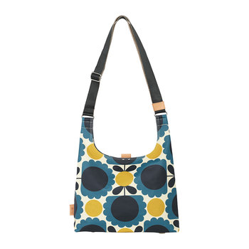 Laminated Scallop Flower Spot Midi Sling Bag - Denim