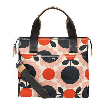 Laminated Scallop Flower Spot Zip Messenger Bag - Blush