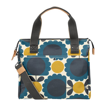 Laminated Scallop Flower Spot Zip Messenger Bag - Denim