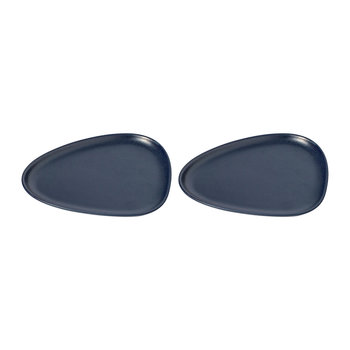 Curve Stoneware Lunch Plate - Set of 2 - Navy