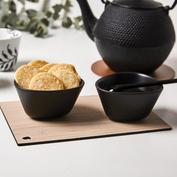 Curve Stoneware Serving Board Set - Black Ash