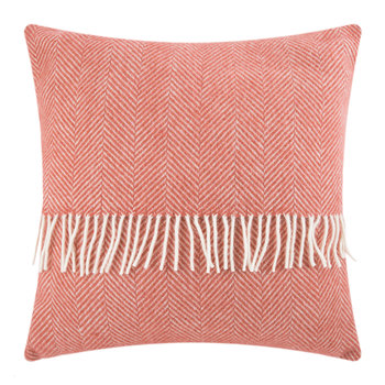 Fishbone Wool Pillow - 60x60cm - Cranberry