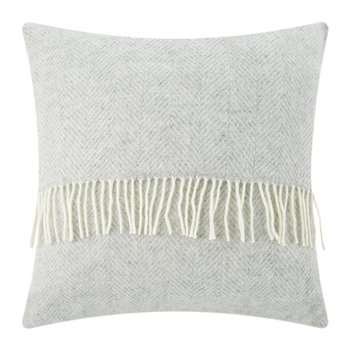Fishbone Wool Pillow - 60x60cm - Silver Grey