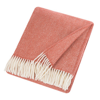 Fishbone Wool Throw - Cranberry