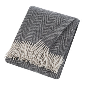 Herringbone Wool Throw - Charcoal/Silver