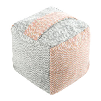 Tweed Cube Door Stop - Herringbone Silver Grey/Dusky Pink