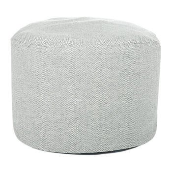 Tweed Pouf - 45x30cm - Silver Grey Herringbone/Denim