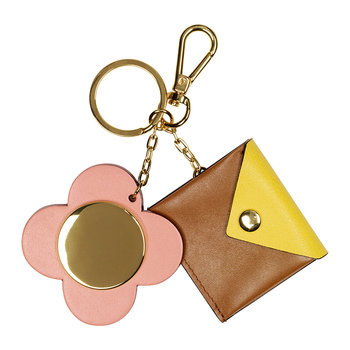 Giant Scallop Flower Purse Keyring - Leather - Tan