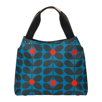 Sixties Stem Vinyl Zip Shoulder Bag - Kingfisher
