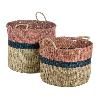 Marlene Seagrass Basket- Set of 2 - Blue/Tan/Pink