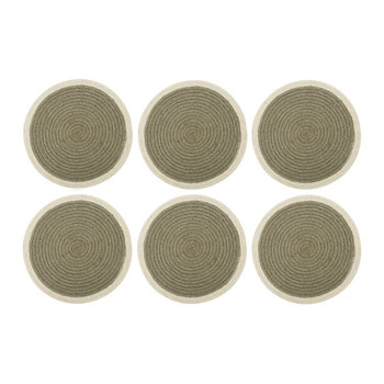 Round Placemats Set of 6 - Gray/Cream