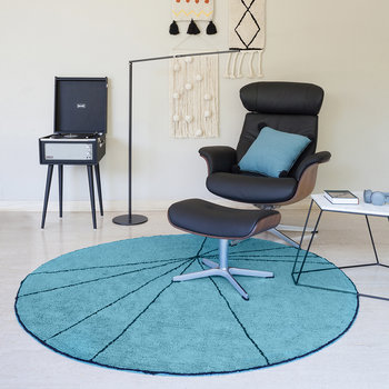 Trace Round Washable Rug - 160cm - Petroleum