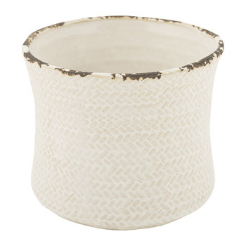 Weave Ceramic Flower Pot - Ivory