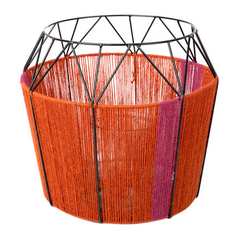Wide Base Rope Lantern - Coral