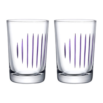 Parrot Water Glasses - Set of 2 - Clear/Purple