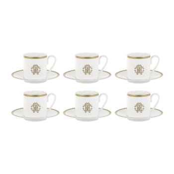Silk Gold Espresso Cups & Saucers - Set of 6