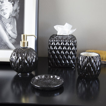 Black Tie Round Soap Dispenser - Black
