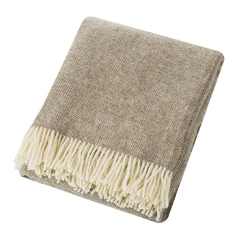 Natural Pure Wool Throw - Herringbone Beige