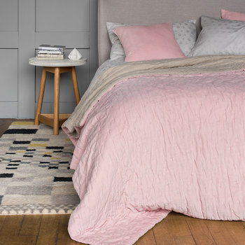 Velvet Linen Bedspread/Quilted Throw - Blush