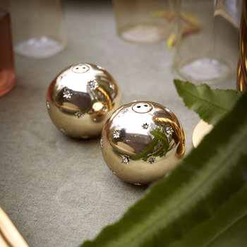 Stars Salt & Pepper Shakers - Set of 2 - Gold & White Crystals