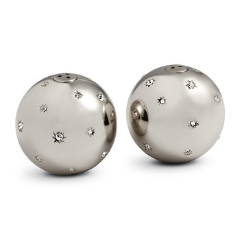 Stars Salt & Pepper Shakers - Set of 2 - Platinum & White Crystals