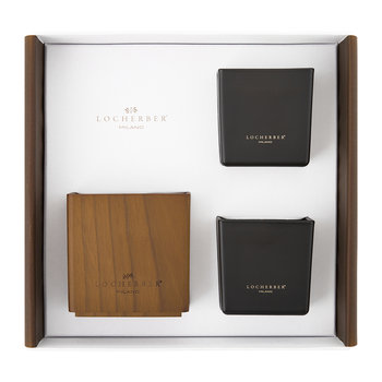 Two Candles & Holder Gift Set - 210g - Habana Tobacco