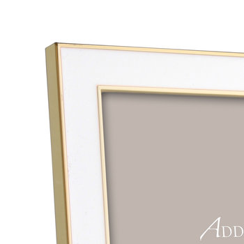 White Enamel & Gold Photo Frame