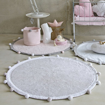 Bubbly Round Washable Rug - 120cm - Light Gray