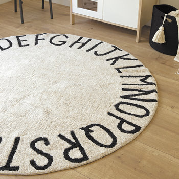 Round ABC Rug -150cm - Natural/Black