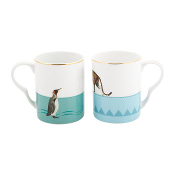 Cheetah & Penguin Bone China Mugs - Set of 2