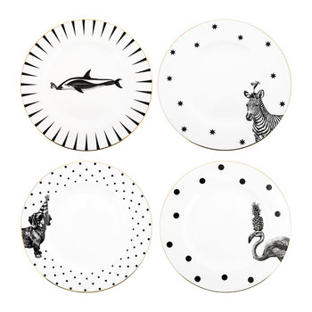 Monochrome Animal Party Plates - Set of 4