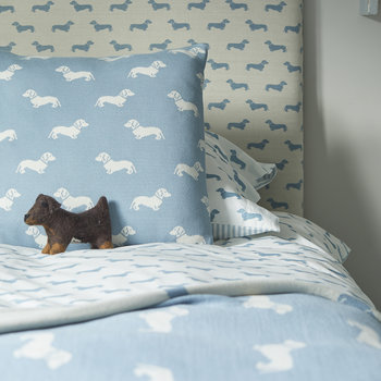 Knitted Dachshund Cushion - 50x50cm - Blue