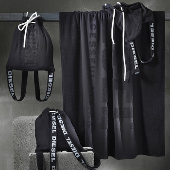 Active Logo Beach Towel & Bag - Black