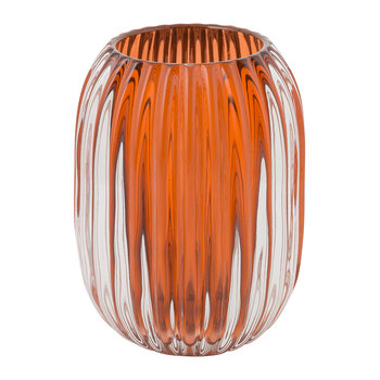 Fluted Glass Vase - Amber