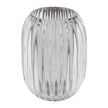 Fluted Glass Vase - Grey
