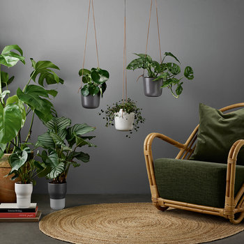 Self Watering Hanging Plant Pot - Clay White