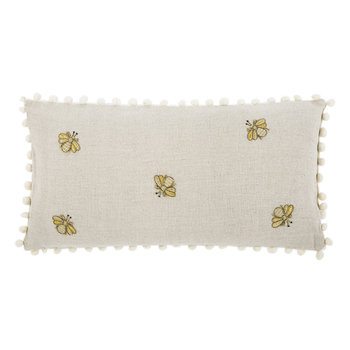 Embroidered Bee Cushion with Pom Pom Trim - Natural - 50x25cm